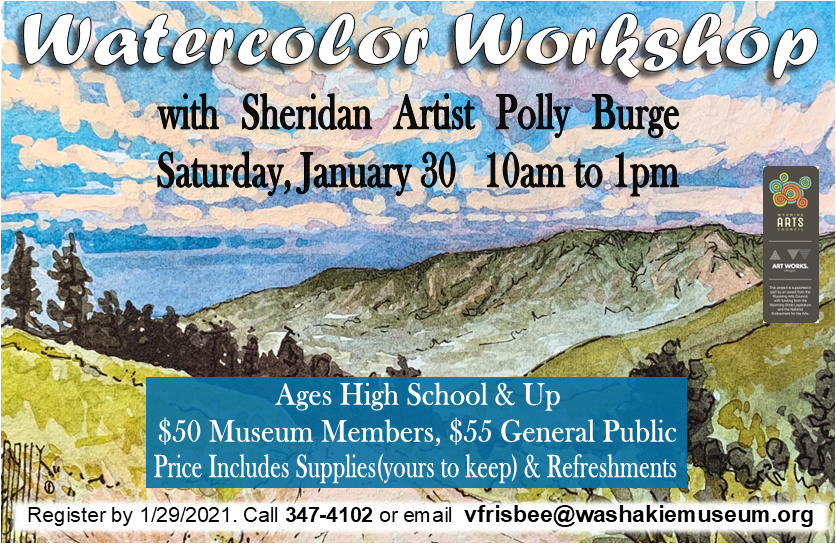 Watercolor Workshop with Sheridan Artist Polly Burge flyer