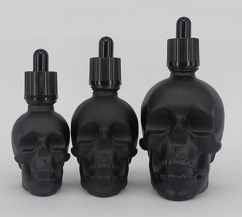 GS-5# Black Frosted / Translucent Skull Glass E-Liquid Bottle 30ml 60ml 120ml