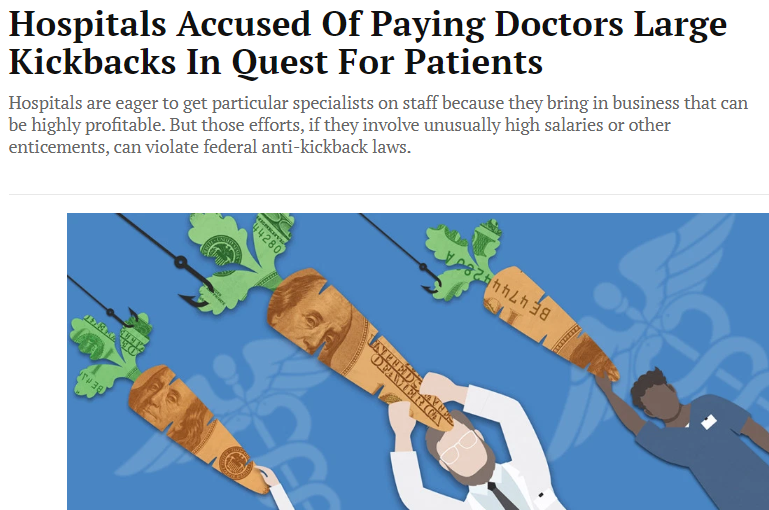 Hospitals accused of paying doctors large kickbacks outside of safe harbor exemptions and fair marke