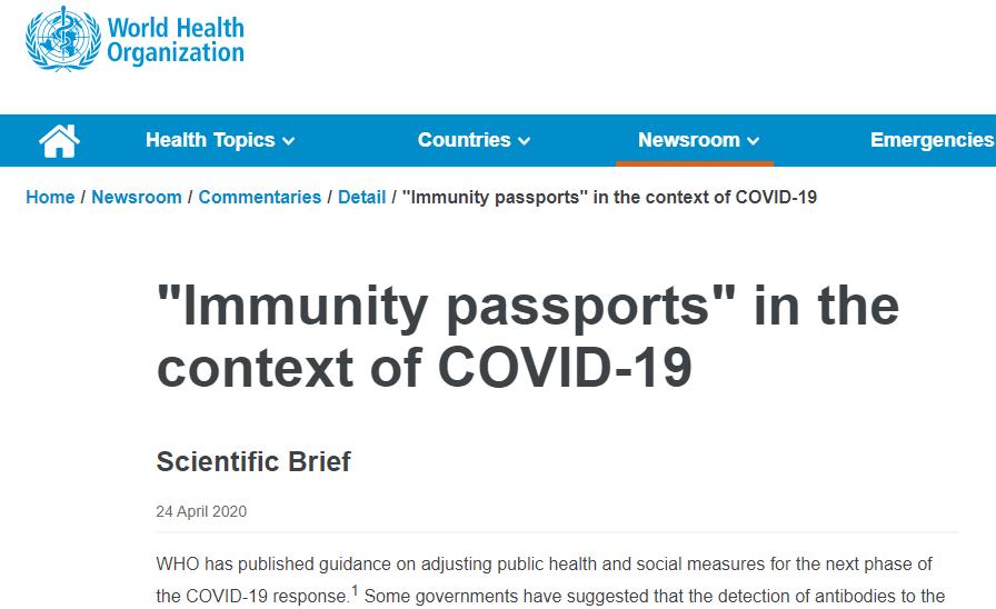 "WHO - ""Immunity Passports"""