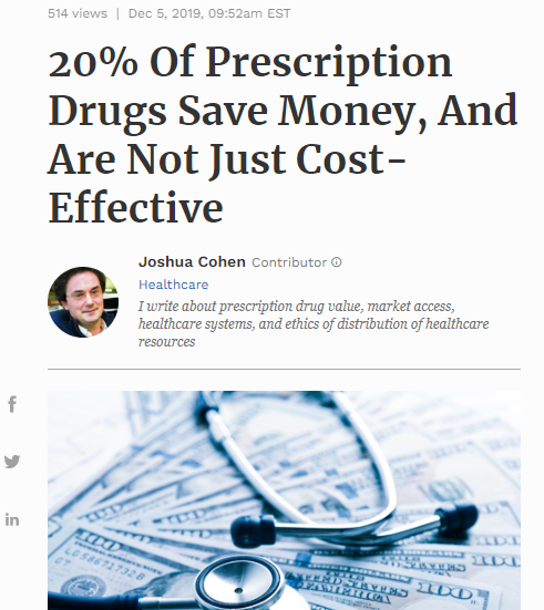 20% of Prescription Drugs Save Money, and are not just cost-effective
