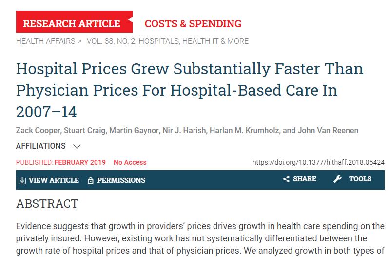 Hospitals help drive up healthcare costs