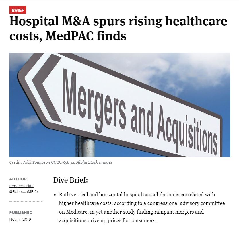 Hospital Mergers and Consolidations Incr