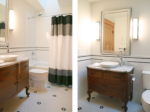 This bathroom was inspired by and conceived from the love of an old buffet, a nod to history and a Degas painting.
