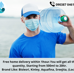Free home delivery within 1hour. You will get all the quantity, Starting from 500ml to 20l