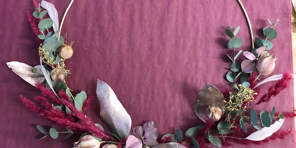 Couronne de fleurs séchées spécial Noël