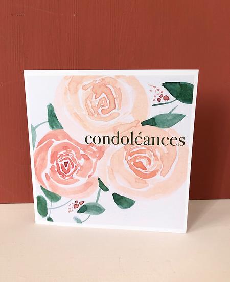 """Carte de voeux """"condoléances"""""""
