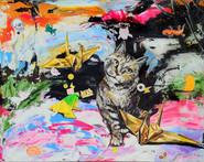 스티커, 종이접기, 고양이, 얼룩 Stickers, origami, cat, stains.
