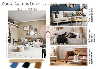 Couleur beige décoration, association de couleurs, bleu, noir et marron