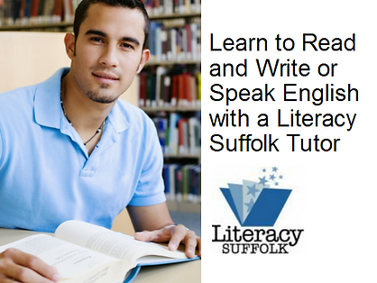 literacy suffolk logo with male sitting in front of a book on a table