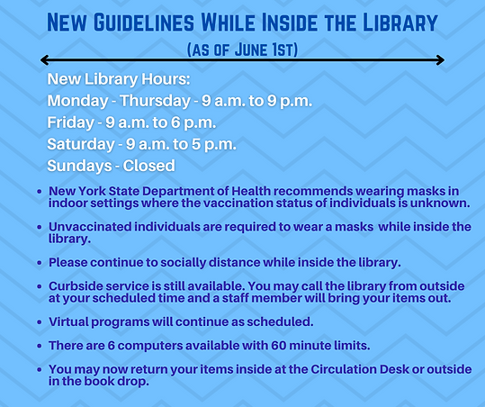 New Guidelines While Inside the Library