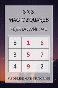 3x3 Magic Squares - Summer activities fo