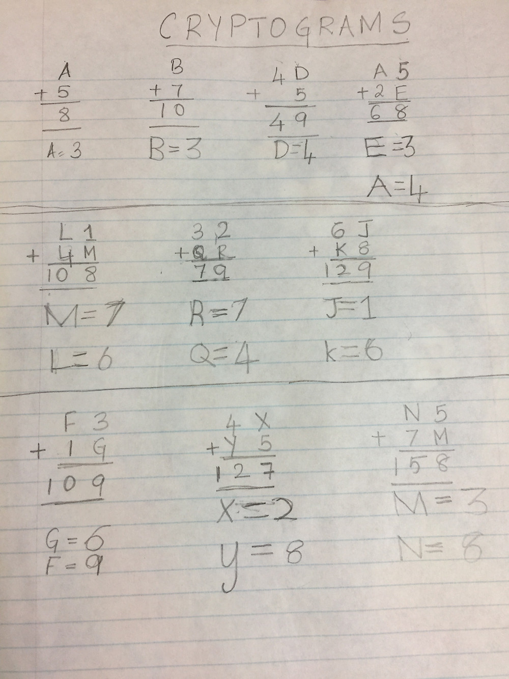 Cryptogram Math Puzzles for K-2