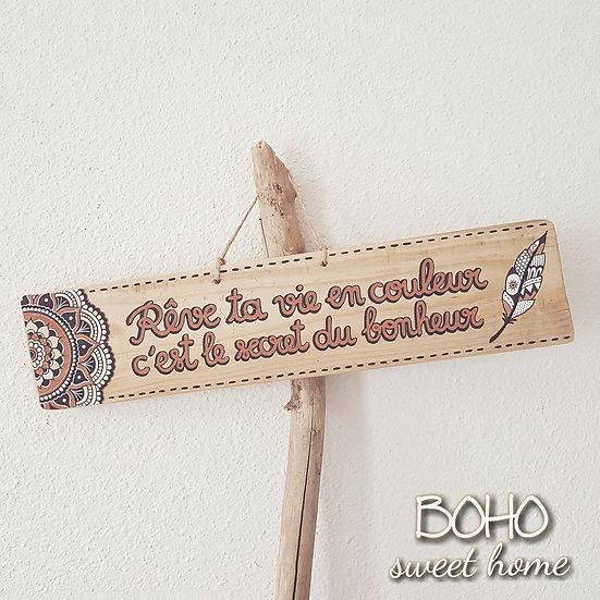 Pancarte XL en bois de palette ↠ Rêve ta vie en couleur