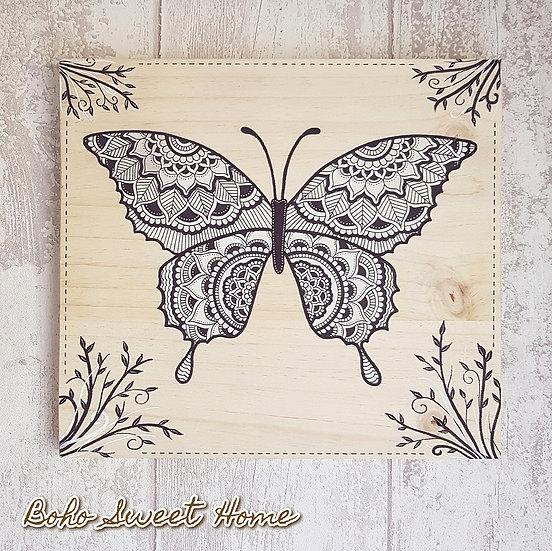 Tableau sur bois ❈ 𝐖𝐈𝐋𝐃𝐋𝐈𝐅𝐄 ❈ | Papillon