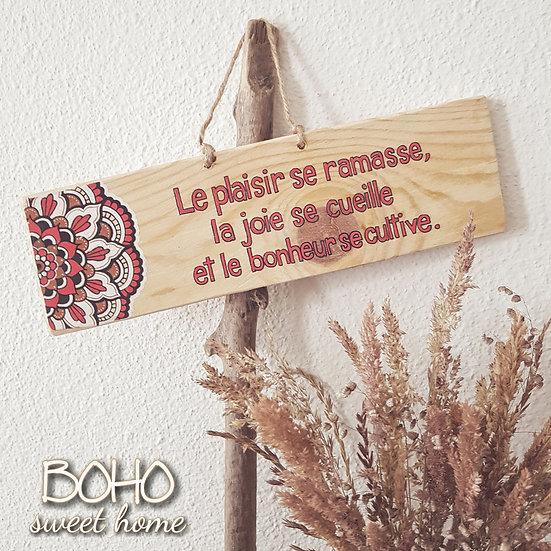 Pancarte en bois de palette ↠ Le plaisir se ramasse