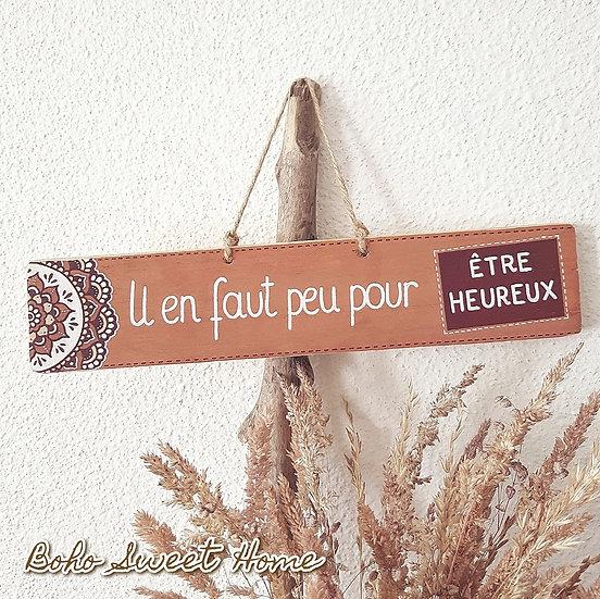Pancarte en bois de palette ↠ Il en faut peu pour être heureux