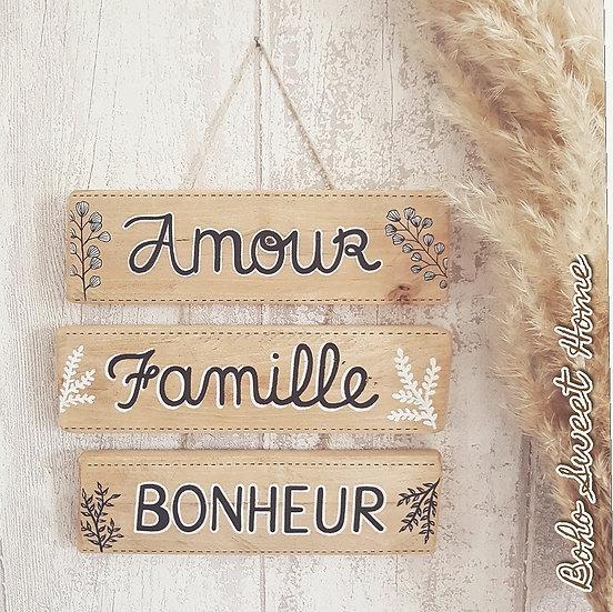 Suspension 3 pancartes en bois de palette ↠ Amour Famille Bonheur