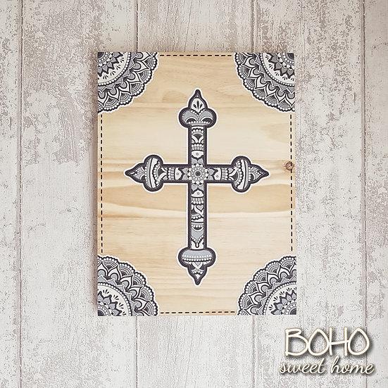 Tableau croix mandala sur bois ↠HAUNI