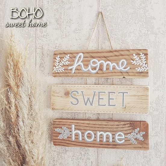 Suspension 3 pancartes en bois de palette ↠ Home Sweet Home