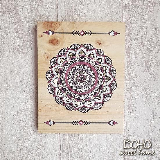 Tableau mandala sur bois ↠ HEIAPIRI