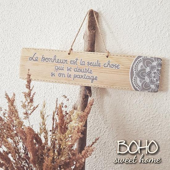 Pancarte en bois de palette ↠ Le bonheur