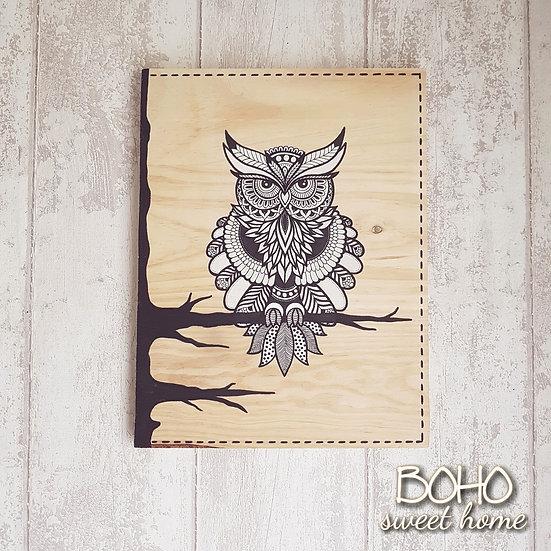 Tableau sur bois ❈ 𝐖𝐈𝐋𝐃𝐋𝐈𝐅𝐄 ❈ | Hibou