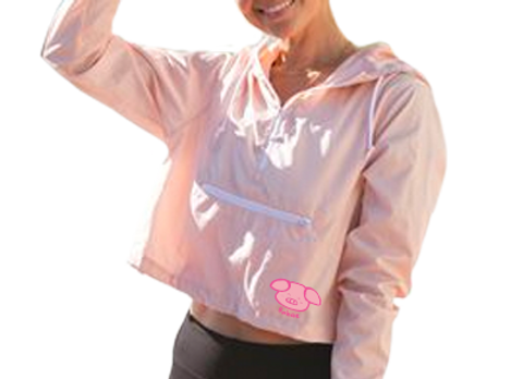 Bobae Pink Pullover Crop Windbreaker
