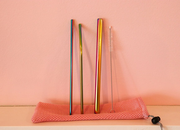 Reusable Straws Set With Travel Pouch