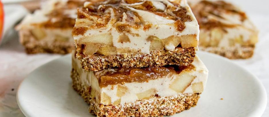 Vegan Caramel Apple Cheesecake Bars