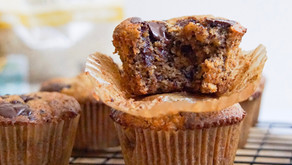 Banana Muffins with Walnuts and Chocolate Chunks (low carb, grain free and dairy free)