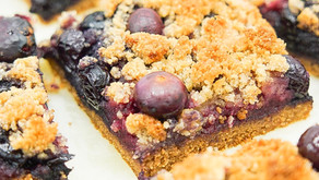 Blueberry Crumb Bars (low carb, grain free, dairy free)