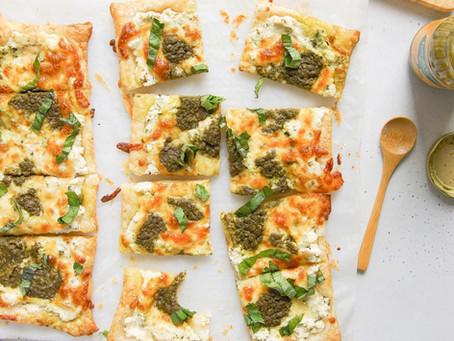 White Pesto Puff Pastry Pizza