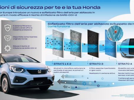 Honda introduce un nuovo filtro dell'aria in grado di ridurre rischio di infezione da SARS-COV-2