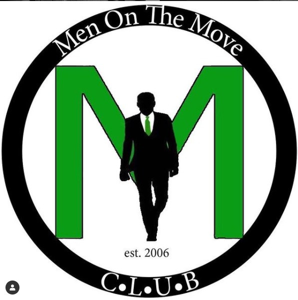 "Men on the Move Logo. Silhouette of a person walking, wearing a green tie and carrying a briefcase. He is walking in front of a green letter ""M."" Men On The Move arches above the person walking. C. L. U. B. is below the person walking. Resting above C L U B and below the person walking is the founding year of Men on the Move."
