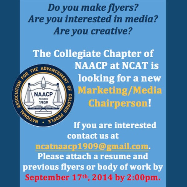 An advertisement by the collegiate chapter of NAACP looking for a Marketing/ Media Chairperson