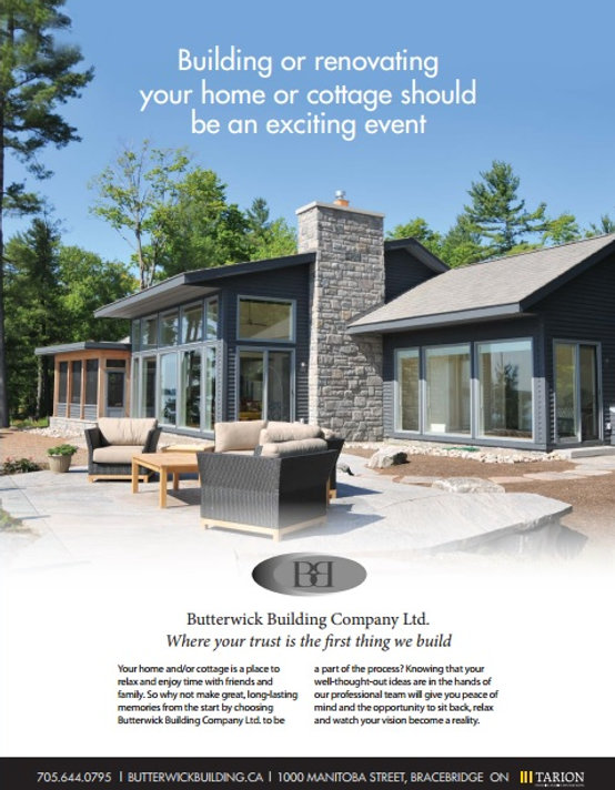 Cottage in Muskoka Built by Butterick Building Company