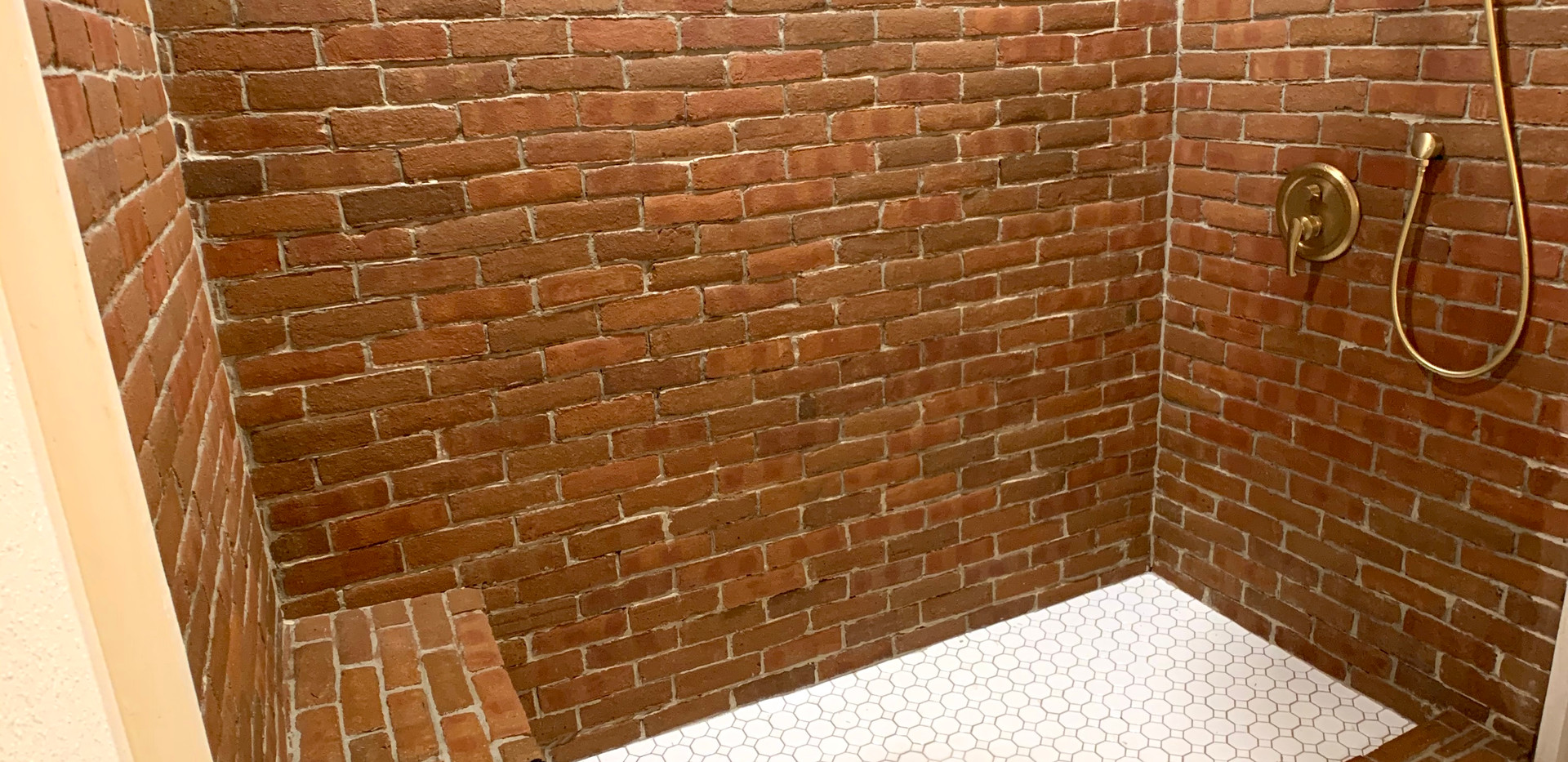 Floor to ceiling brick shower