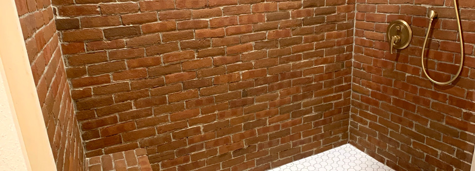 Floor to ceiling brick shower