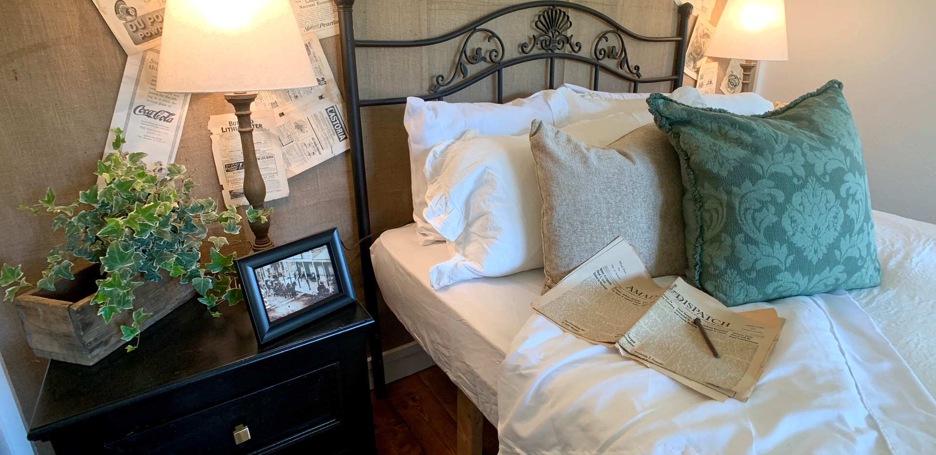 Front Bedroom with Burlap Wall