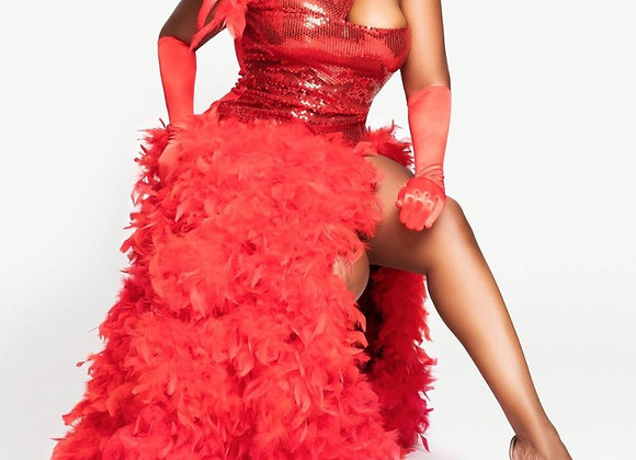 Plus Size Sequin Gown - Feathers