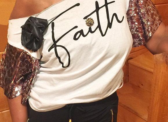 Short Sleeve Sequin Tee - Faith