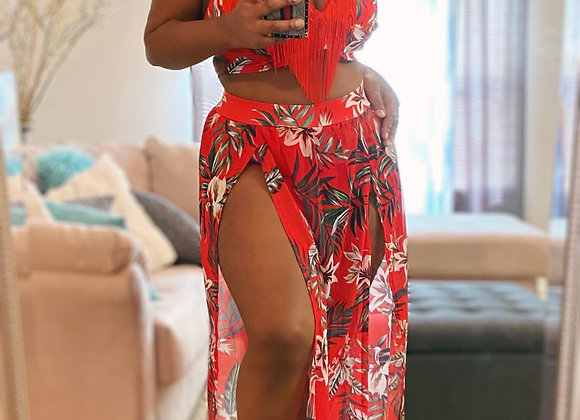 Maxi Skirt Set with Fringe - Red