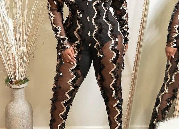 Plus Size Sequin Jumpsuit