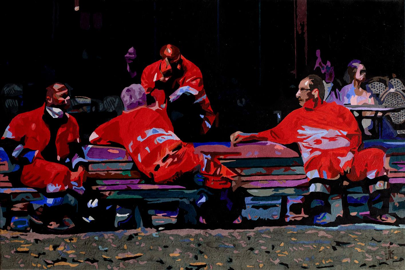 Firemen Wearing Red