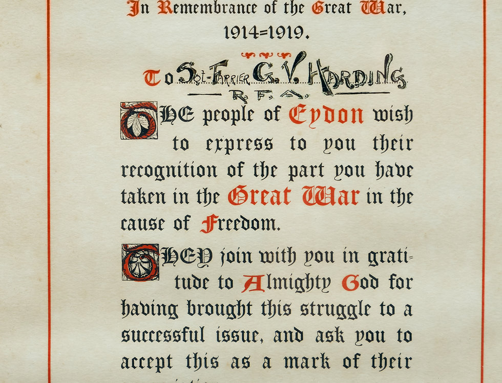 Certificate of Thanks from Eydon to Sargeant Farrier Harding