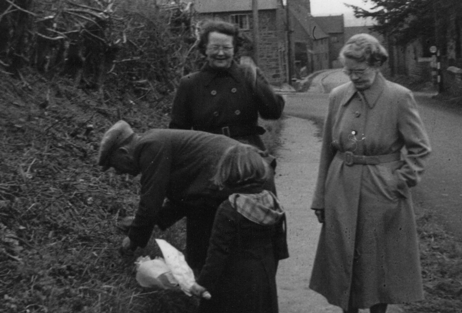 The Gubbins family picking violets at Eydon mid 1950s