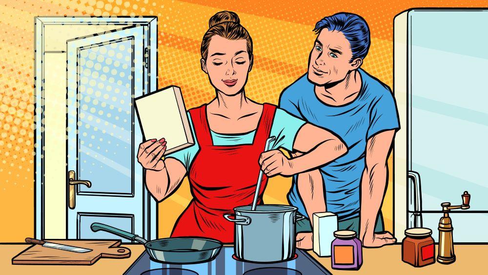 Woman multi tasking while man watches