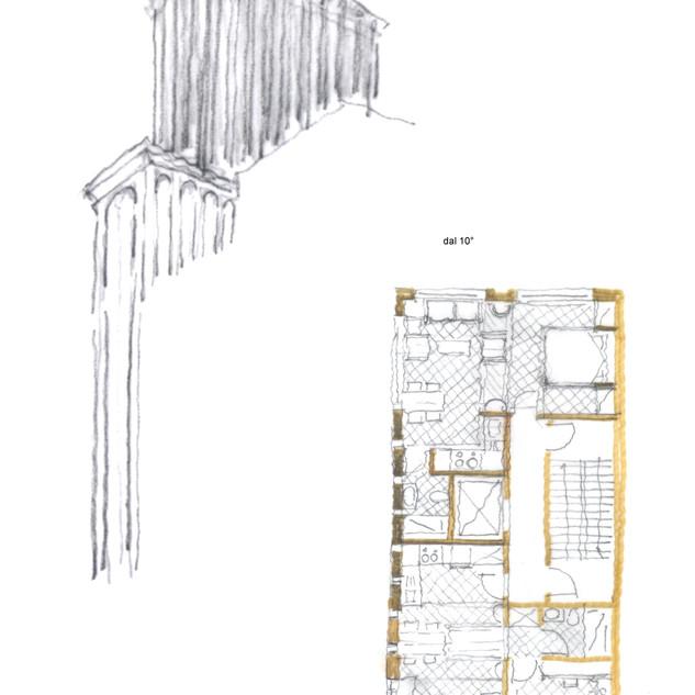 schizzi di progetto dell'esterno e di una camera di albergo