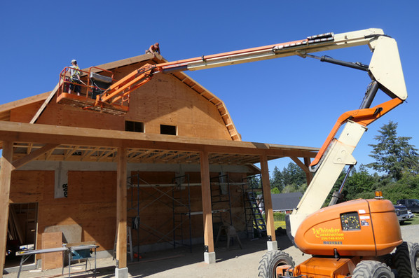 Barn Build using manlift